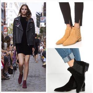 NEW REBECCA MINKOFF dark maroon suede ankle boot 7